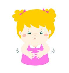 little girl having stomach ache cartoon vector image vector image