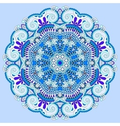 Mandala blue circle decorative spiritual indian vector