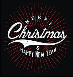 Merry christmas happy new year typography vector