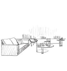 Modern interior room sketch Living vector image vector image