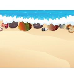 Pebble and seashells on the sand vector