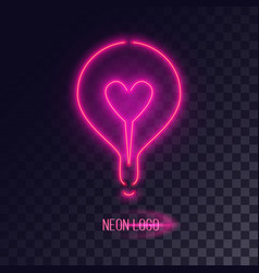 Pink neon lightbulb logo vector