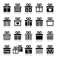Present gift box icons set vector image
