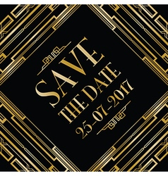 save the date art deco card vector image vector image