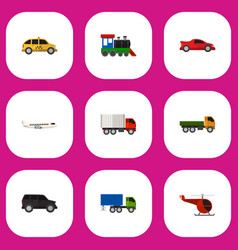 set of 9 editable car flat icons includes symbols vector image