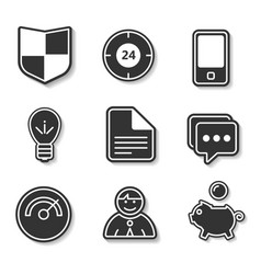 Set of black and white flat icons for websites and vector