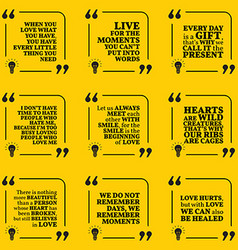 Set of motivational quotes about love moments vector