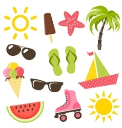 Set of summer icons vector image vector image