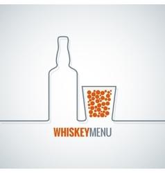 Whiskey glass bottle line design background vector