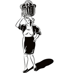 Young woman with a basket filled with freshly vector