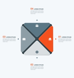 Infographic temlate with square 4 options vector
