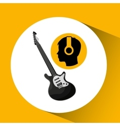 Head silhouette listening music guitar electric vector