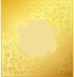 Gold decorative ornament luxury floral wallpaper vector