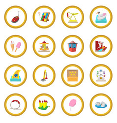 amusement park cartoon icon circle vector image