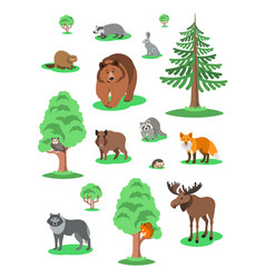 cute forest animals kids cartoon vector image