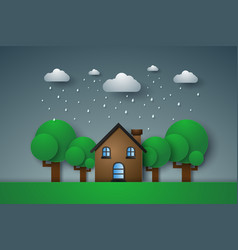 House in green field with rain paper art style vector