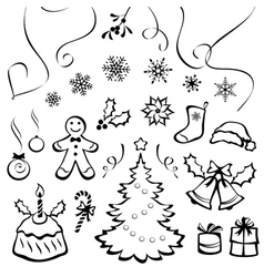 Stylized christmas elements vector