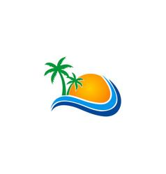 tropic beach sun logo vector image