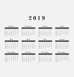 2019 year calendar horizontal design vector image vector image