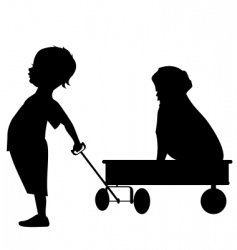 boy with wagon vector image