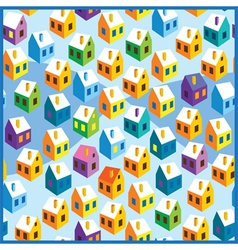 Winter houses pattern vector