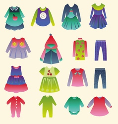 collection of childrens fashion clothing vector image