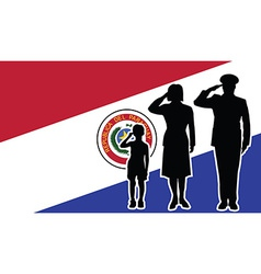 Paraguay soldier family salute vector