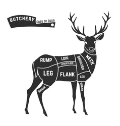 Deer meat cuts black vector