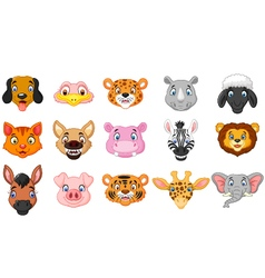 Animal head cartoon collection vector image