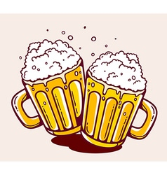 Bright two beer mugs on yellow background vector