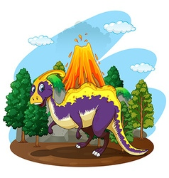 Dinosaur and volcano eruption vector