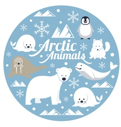 Arctic Animals Label vector image