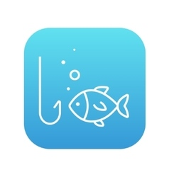 Fish with hook line icon vector