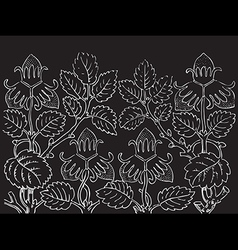 Hand drawn of strawberry bushes branch vector