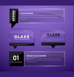 Design glass banners with text vector