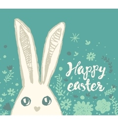 Happy easter greeting card cute bunny vector