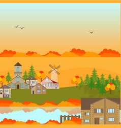 autumn village town background vector image vector image