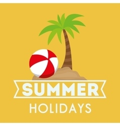 Card summer holidays palm beach and ball vector