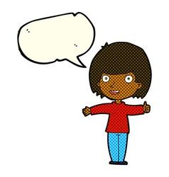 cartoon happy woman with speech bubble vector image