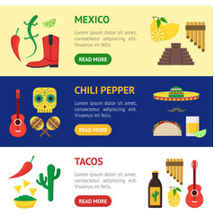 cartoon mexican culture banner horizontal set vector image vector image