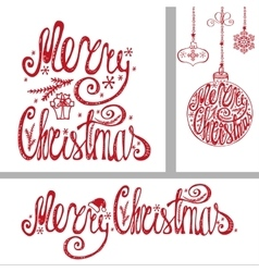 Christmas cardsLettering typography elements vector image