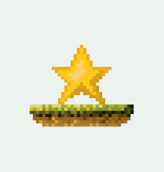 Color pixelated yellow star in meadow vector