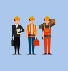 Construction workers engineer foreman employee vector