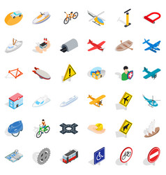 Different transport icons set isometric style vector