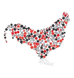 Dotted colorful cock vector