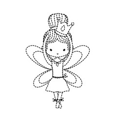 Dotted shape girl dancing ballet with crown and vector
