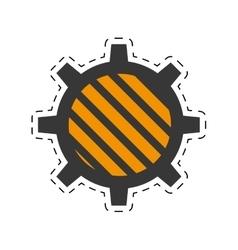 Gear construction engine cut line vector