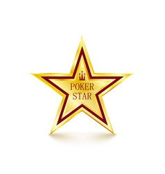 Golden star on white background poker concept vector
