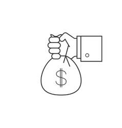 Hand with bag of money line icon vector