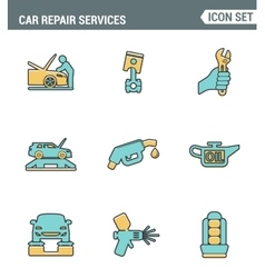 Icons line set premium quality of car repair vector